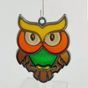 Vintage leaded glass owl sun catcher.
